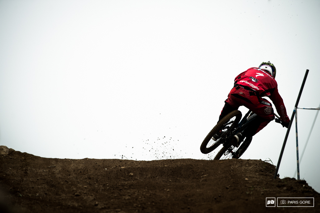After poring over photos and compiling a veritable database of recent Aaron Gwin photos in-house photo analysts at Pinkbike have confirmed that Gwin is producing 14.2 more roost from his back tire since the new longer chainstays. That s science people.