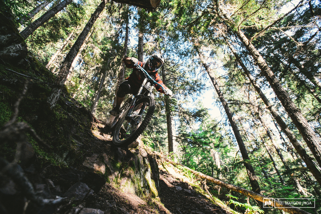 The Backdoor Trail descends roughly 3 500 vertical feet from the ski hill above town. Riders finish up with a 5 minute pedal to their favorite patio. World class.