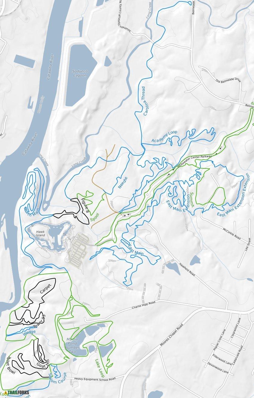 U.S. National Whitewater Center Mountain Biking Trails ... on plan view trail, westward trail, thornton lake trail, grading plan trail, fork in the trail,