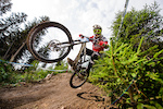 KOLB Andreas of Austria races down the downhill track of the Bikepark Serfaus-Fiss-Ladis during the Kona MTB Festival Serfaus-Fiss-Ladis.ROOKIES in Tyrol, Austria, on August 10, 2014.Free image for editorial usage only: Photo by Felix Schüller.