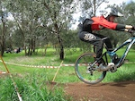 Jumping into the berm with my race face on!