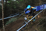 Taking the inside line out of the first woods section woods