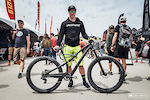 "Jared Graves is here at Sea Otter with one bike—the Camber. The 29"" inch trail bike is  being customized to suit each event, but he is riding the same frame. For slalom, Jared had 27.5"" wheels put on, left the 140mm 29"" fork up front, had a SRAM X01 DH cassette/derailleur put on, and there is a custom Ohlins rear shock, tweaked to fit on the Camber frame. He was finding th front to be a touch on the high side, but it wasn't enough to bother him to change it."