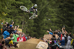 Graham Agassiz at the official whip off championships, Crankworx 2013.