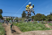 The level of talent of the young riders at the Post Office jumps is amazing.  Gavin Stanton boosting on Shane Halahan's bike.
