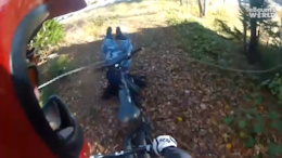 Watch the Chain! Bikers Crash into Chain Across a Trail