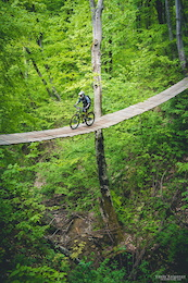 This 35m-long bridge is a part of a timed special stage at enduro race (1st of russian enduro series 2015).