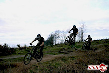 Sequence shot over the new double on the Red DH course at cannock chase