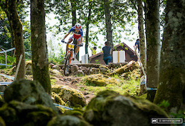 Julien Absalon having no troubles with the course during practice.