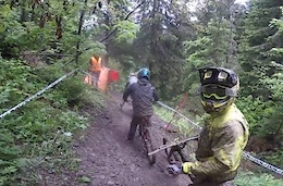 Sik Mik and Alex Fayolle Slide the DH Course in Les Gets - Video