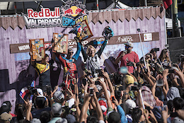 Pedro Ferreira, Thomas Slavik and Bernard Kerr celebrates during Red Bull Valparaiso Cerro Abajo in Valparaiso, Chile on February 19, 2017 // Nicolas Gantz / Red Bull Content Pool // P-20170220-00243 // Usage for editorial use only // Please go to www.redbullcontentpool.com for further information. //