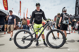 """Jared Graves is here at Sea Otter with one bike—the Camber. The 29"""" inch trail bike is  being customized to suit each event, but he is riding the same frame. For slalom, Jared had 27.5"""" wheels put on, left the 140mm 29"""" fork up front, had a SRAM X01 DH cassette/derailleur put on, and there is a custom Ohlins rear shock, tweaked to fit on the Camber frame. He was finding th front to be a touch on the high side, but it wasn't enough to bother him to change it."""