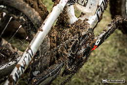 Cecile's bike picked up a few extra pounds throughout the day as the mud began to dry out and stick to everything like glue.