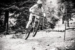 Hugo Frixtalon ripping the rut that had formed at the end of the first long straight.