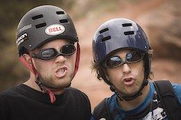 Jordie Lunn with Wade Simmons in Moab, Utah while filming for Roam in 2006