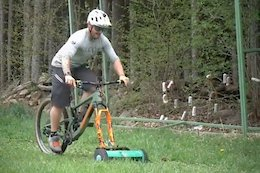 Video: Stefan Mueller Turns His Bike into a Lawnmower in Self-Isolation