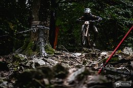 Loris Vergier about to launch it into the rock garden.