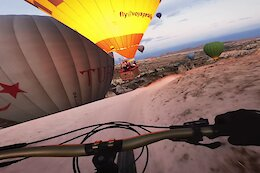 Video: Kilian Bron Rides Alongside Hot Air Balloons in Turkey