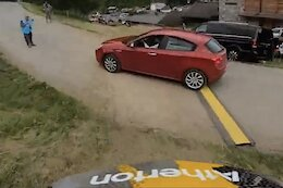 Video: Andreas Kolb Narrowly Avoids Hitting a Car on the Les Gets World Cup Course