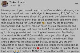 Tinker Juarez Announces Split with Cannondale in Now Deleted Social Media Post
