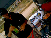 Matti working the grill. Bacon lathered in cheddar cheeze, rapped around chicken drums...with a homemade BBQ suace...the CB monkeys know how to live...yo matti splash some hornito on there ah!