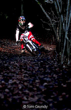 Drifting Foot Out round the berm Photo By Tom Grundy