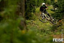 Matt Brooks and Dylan Sherrard ride Sun Peaks' Steam Shovel