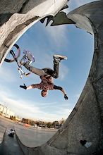 "Bartek Pałka during amazing statue photo session. This hurts... dartmoor-bikes.com.  Photo by Janek ""Elvis"" Kiliński."