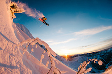 Chris Rubens airs over some sunset light, Kootenays, BC.