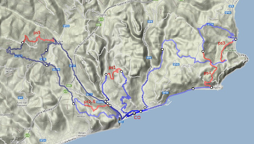 The course map for this weekend. On Saturday riders will tackle stages 1 to 4, then on Sunday 5 and 6. In total they will cover about 60km and climb and descend for 2,300m.