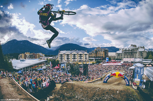 Brandon Semenuk with this huge flip whip to finish his run and take 1st place - Crankworx: Recited ~ Whistler,BC // 2013 - Find the article on Pinkbike - Keep up to date - https://www.facebook.com/Laurence.CE.Photography
