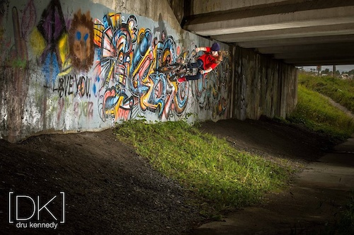 A photo shoot in corner brook of me doing a wall ride ! photographer Drukenndy