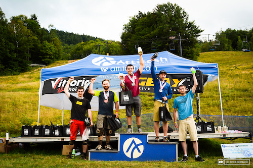 Podium shot from the Eastern States Cup Super-D and Enduro at Attitash