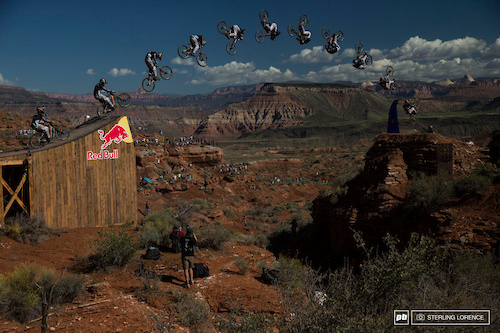Tom VanSteenbergen's attempt at a front flip over the canyon gap at RedBull Rampage 2014.