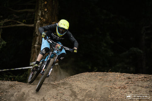 Adam Craig was solid on this track all day which could be due to the amount of time spent riding in the PNW with steep, wet roots. 11th for the day.
