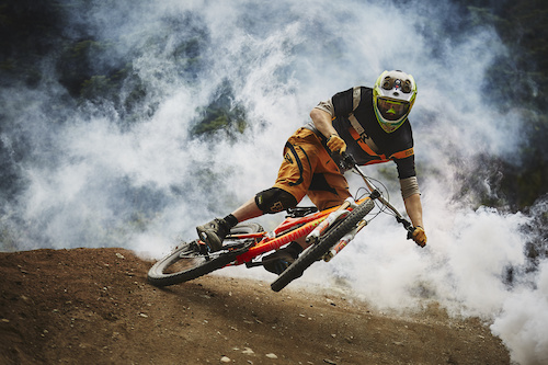 Ollie slashing through the smoke in the Whistler Bike Park - Laurence CE - www.laurence-ce.com