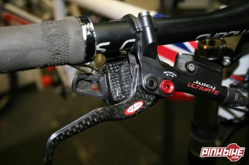 X.0 shifter and Ultimate lever mounted using Avids sweet Matchmaker bar clamp