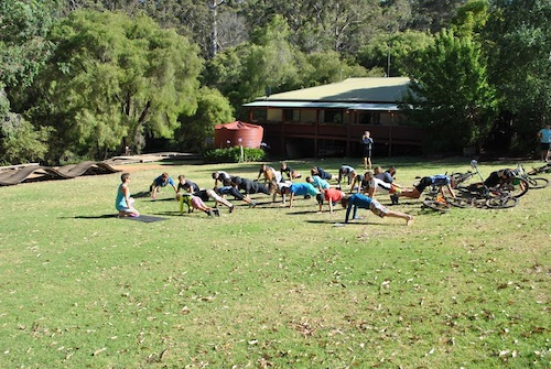 Morning pilates on the grass !