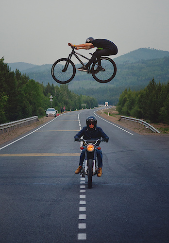 When the rider and his photographer are in a single shot. Photo by: Evgeny Vlasov