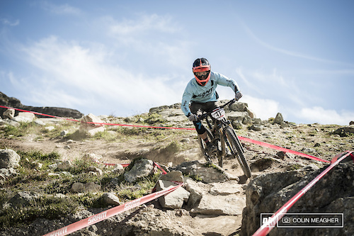 Bi McCarther of Santa Cruz, CA dropping in on stage 3 of the Challenger Enduro.