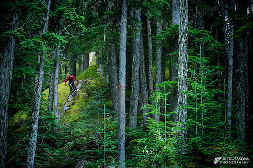 Steve Storey riding his newest creation - Roca Verde trail, Whistler, BC.