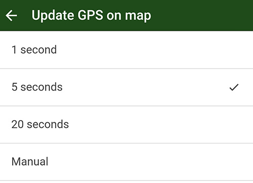 control how often the GPS updates in the Trailforks app