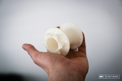The initial 3D printing of a hub - they prototype all of the elements this way, including the ratchet system.
