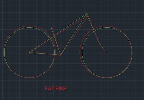 In red Fatbike Frame with 26 x 4.8 tires and rigid fork Green Same frame with 27.5 x 2.8 tires 120 mm Rockshox fork with 51 mm rake. 66 head angle Shorter reach Same bottom bracket height Just a nice and capable hardtail made with a 2015 Blizzard fatbike frame