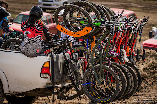 Alta Racks provided a vertical six bike carrier to help with the shuttle.