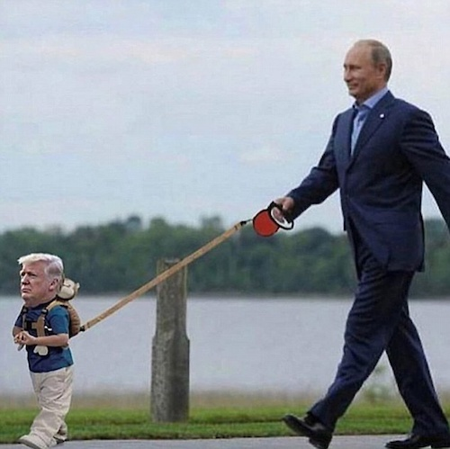Putin walks his dog