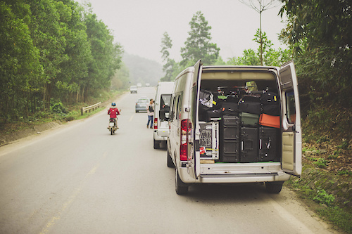 Detail of the equipment trucks along the Ho Chi Minh Trail for the feature film project 'Blood Road' in Vietnam, Laos, and Cambodia in March, 2015. // Josh Letchworth/Red Bull Content Pool // AP-1UD72PTE11W11 // Usage for editorial use only // Please go to www.redbullcontentpool.com for further information. //