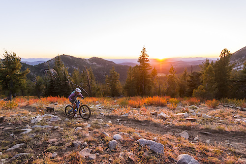 Bekah Rottenberg and Nikki Rohan exploring the trails high above Baker City, OR, Imagery is model released.