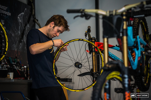 New Manic wheels being laced up in the Mondraker pits.