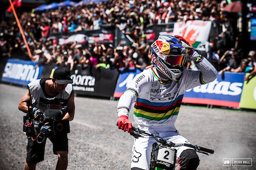 The moment Loic Bruni realised he'd taken his third win of the season.